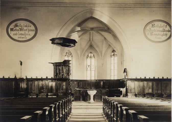 Chor und Kirchenschiff vor der Innenrenovation 1933