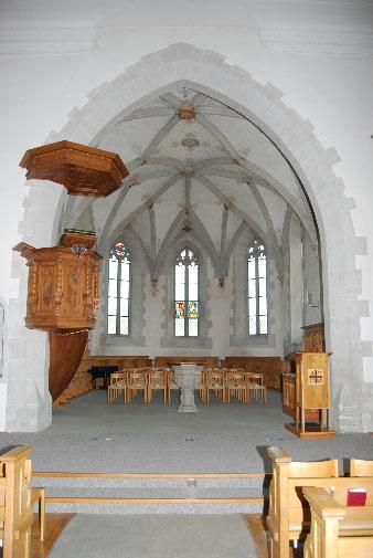 Spätgotischer Chor und Kanzel