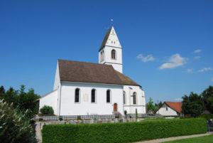 Evangelische Kirche Gachnang: Südseite mit Kirchenschiff (1743-1748), August 2007